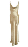 Acceptance Speech White Satin Sleeveless Spaghetti Strap Drape Cowl Neck Cut Out Back Maxi Dress
