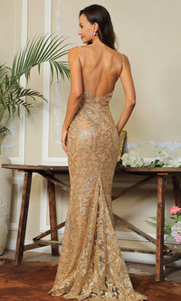 Without A Doubt Brown Gold Glitter Floral Pattern Sleeveless Spaghetti Strap Plunge V Neck Backless Maxi Dress - Sold Out