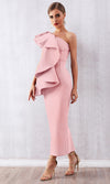 Blowing You Away Pink Sleeveless One Shoulder Ruffle Bodycon Maxi Dress