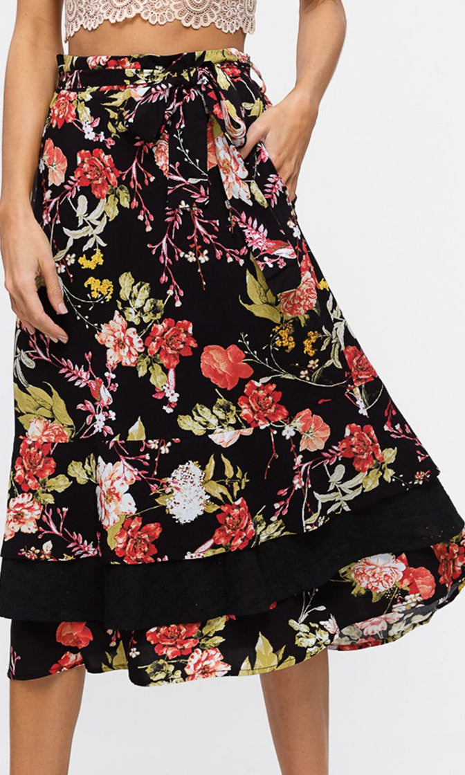 Fresh Flowers Floral Pattern Layered A Line Tiered Casual Tie Waist Midi Skirt