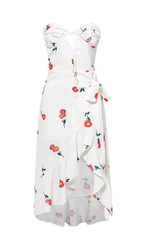 Love Is All Around White Red Floral Pattern Strapless Ruffle Keyhole Wrap High Low Asymmetric Casual Maxi Dress - Sold Out