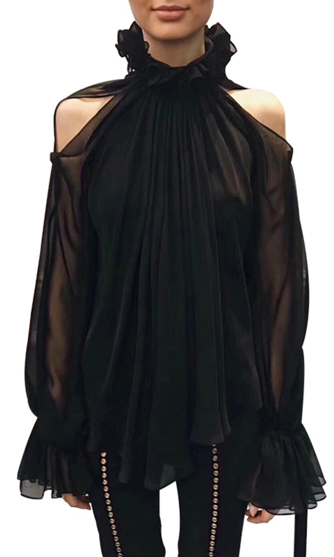 Taking Your Side Black Chiffon Long Lantern Sleeve Cut Out Cold Shoulder Ruffle Tie V Neck Blouse Top - Sold Out