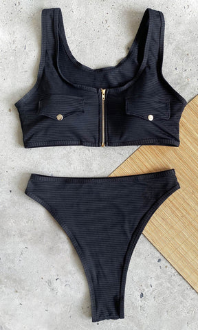 On The Boat Black Knit Soft Cotton Feel Micro Ribbed Chain Strap Sleeveless Scoop Neck Crop Top Brazilian Two Piece Bikini Swimsuit - 2 Colors Available