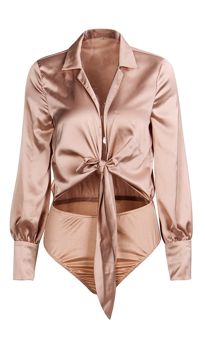 Champagne On Ice Light Brown Satin Long Sleeve V Neck Bow Cut Out Waist Bodysuit Top