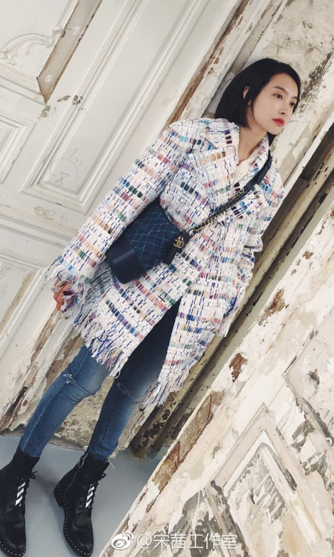 European Tour Multicolor Plaid Pattern Tweed Long Sleeve Fringe Coat Outerwear