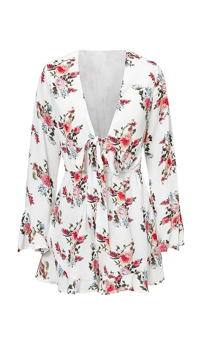 It's Just A Game Floral Pattern Long Flare Sleeve V Neck Bow Romper Playsuit - 2 Colors Available
