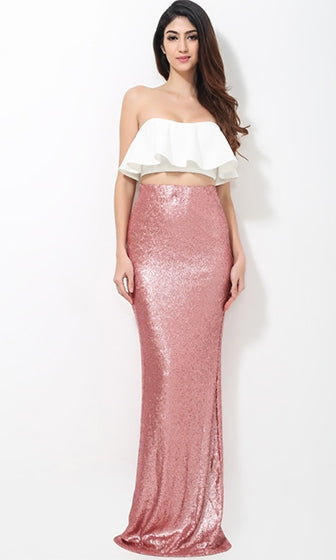 Living Doll White Pink Strapless Ruffle Crop Tube Top Sequin Two Piece Maxi Dress