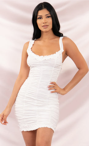 Bright Night Sleeveless Spaghetti Strap One Shoulder Ruched Bodycon Mini Dress - 4 Colors Available