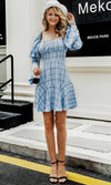 Just You And Me Blue Black Plaid Pattern Long Sleeve Puff Shoulder V Neck Ruffle Casual Mini Dress