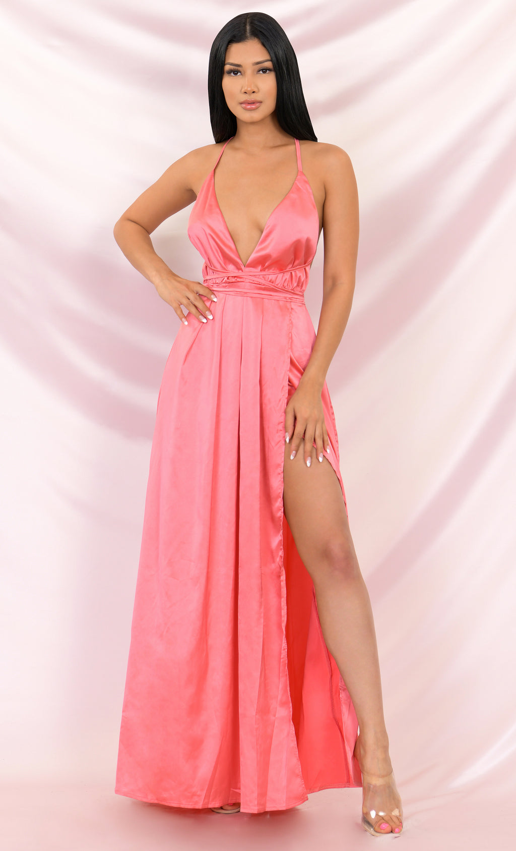 Ivory Tower Pink Satin Spaghetti Strap V Neck Backless Double Slit Maxi Dress