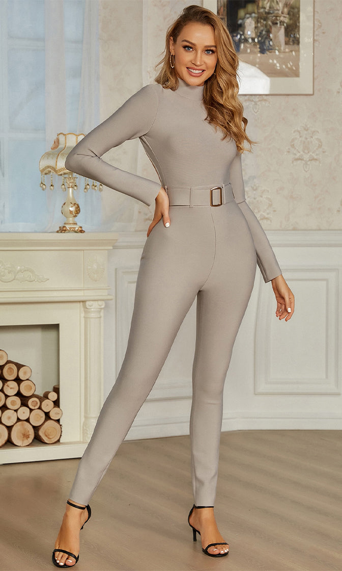 I Make The Rules Grey Long Sleeve Mock Neck Cut Out Back Belt Skinny Bandage Bodycon Jumpsuit
