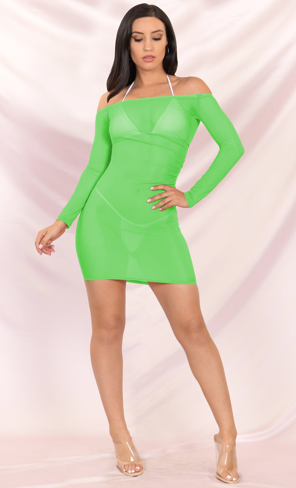 Go Crazy Neon Green Sheer Mesh Long Sleeve Off The Shoulder Side Ruched Bodycon Mini Dress Beach Cover Up - 2 Colors Available