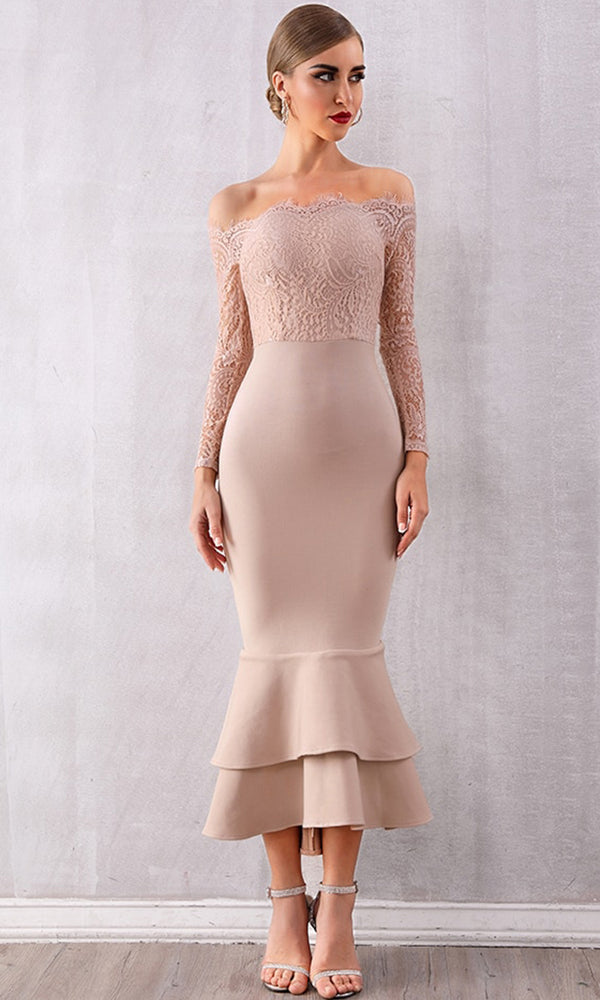 a90544f7a01 By Your Side Apricot Lace Long Sleeve Off The Shoulder Bodycon Bandage  Ruffle Mermaid Maxi Dress