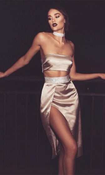 Night To Remember Satin Real Crystal AB Rhinestone Band Strapless Bandeau Crop Top Two Piece Bodycon Asymmetric Thigh Split Midi Dress - 3 Colors Available