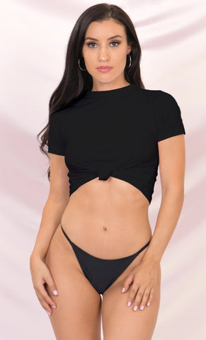 Sunny Days Ribbed Sleeveless V Neck Crop Top Low Rise Cut Out Brazilian Thong Two Piece Bikini Swimsuit - 2 Colors Available