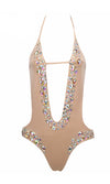 On Vacay Rhinestone Beaded Bling Crystal Gemstone Cut Out Spaghetti Strap Halter Plunge V Neck Monokini One Piece Swimsuit - 4 Colors Available