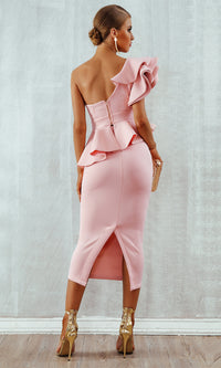 Be Faithful Pink One Shoulder Ruffle Peplum Twist Front Two Piece Bodycon Midi Dress - Sold Out