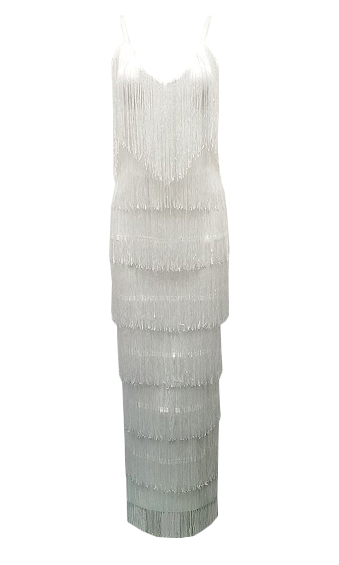 Goal Digger White Sleeveless Spaghetti Strap V Neck Fringe Bodycon Maxi Dress