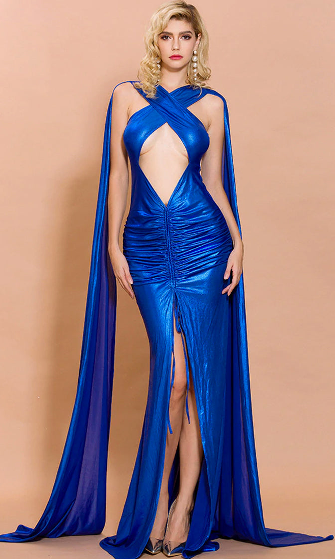 Alternate Universe Bright Metallic Royal Blue Sleeveless Cut Out Cross Front Slit Leg Ruched Extra Long Cape Sleeves