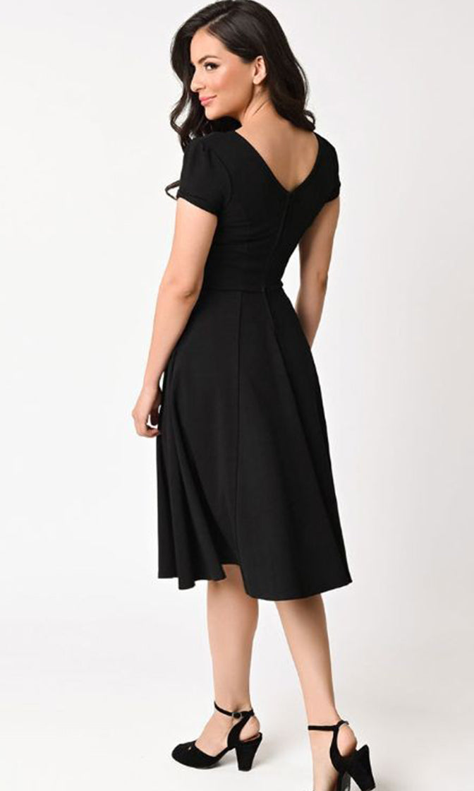 Retro Remake 1940s Style Black Short Sleeve V Neck Skater Circle A Line Flare Casual Midi Dress