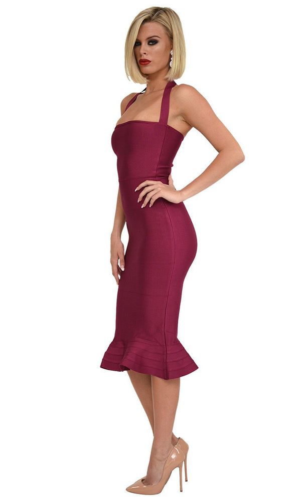 Safe With You Berry Sleeveless Halter Square Neck Bodycon Bandage Fish Tail Midi Dress