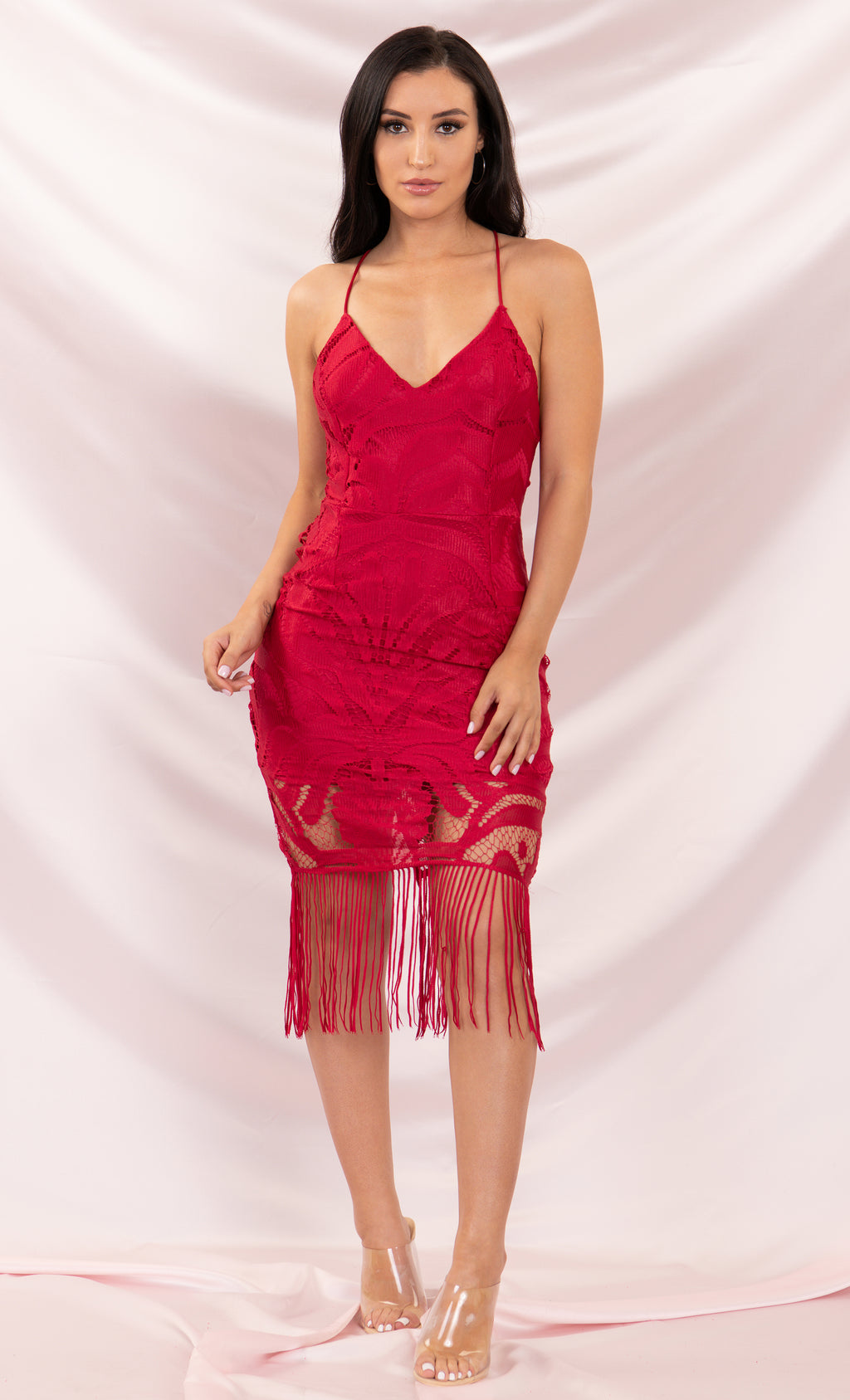 It's Your Move Crimson Red Sleeveless Spaghetti Strap Lace V Neck Tassel Fringe Crisscross Back Bodycon Midi Dress - 4 Colors Available