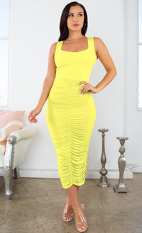 Crush On You Yellow Sleeveless Square Neck Scoop Back Ruched Bodycon Midi Dress - 9 Colors Available