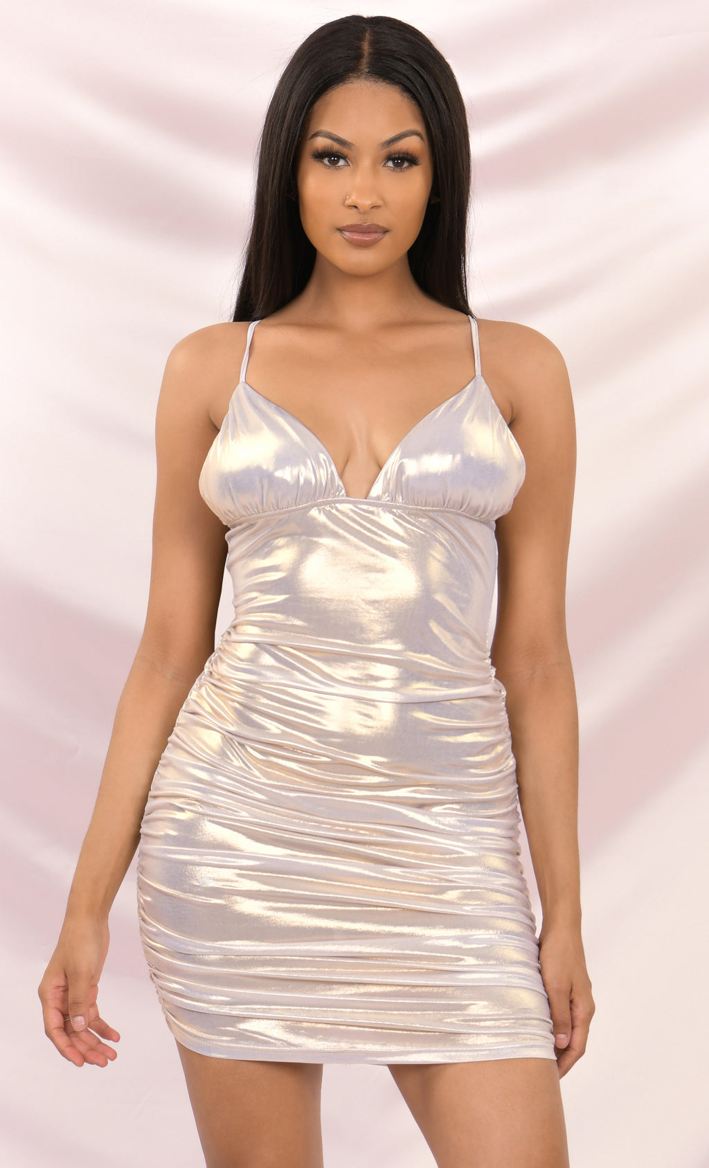 Flash Dance Iridescent Metallic Spaghetti Strap Sleeveless Triangle V Neck Bodycon Ruched Mini Dress