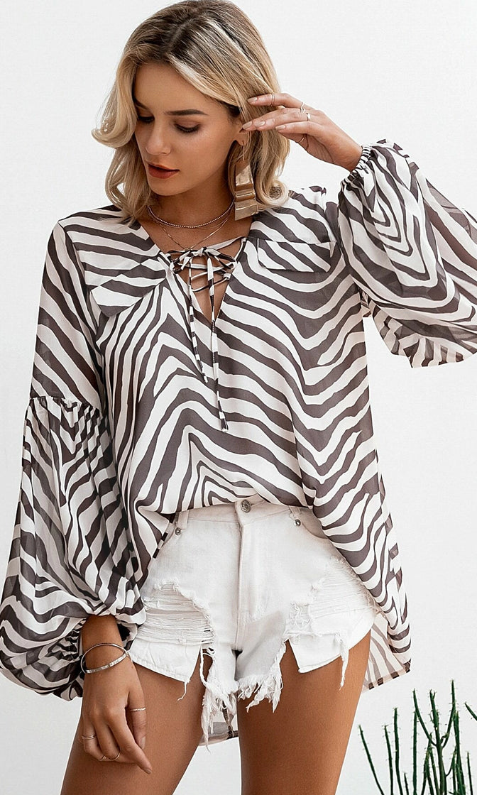 Animal Kingdom Brown Zebra Pattern Long Bell Sleeve V Neck Lace Up Tunic Blouse Top
