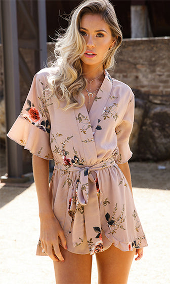 Spring Into Action Beige Floral Short Sleeve Ruffle Cross Wrap V Neck Romper