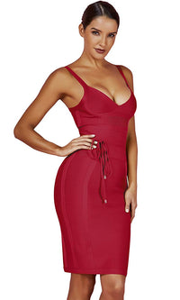 No Time To Waste Maroon Red Burgundy Sleeveless V Neck Tie Waist Bodycon Bandage Mini Dress