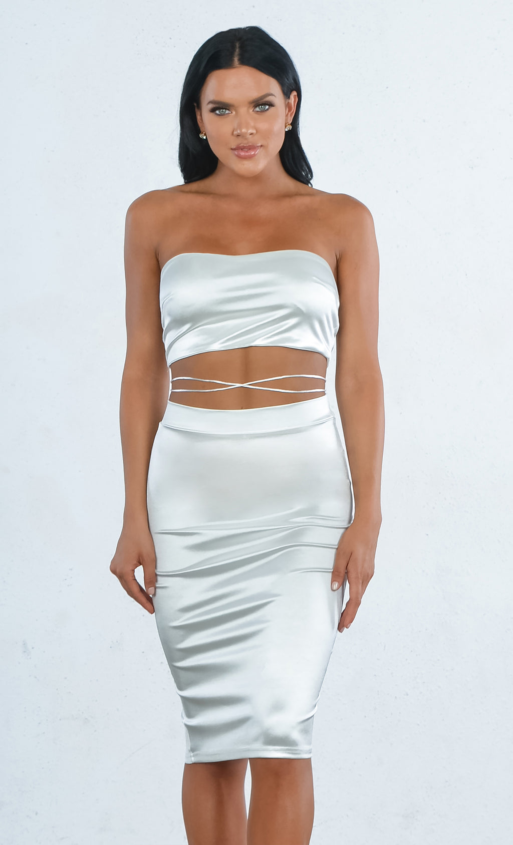 Indie XO Take You Higher White Satin Criss Cross Two Piece Midi Dress Strapless Bandeau Top Set