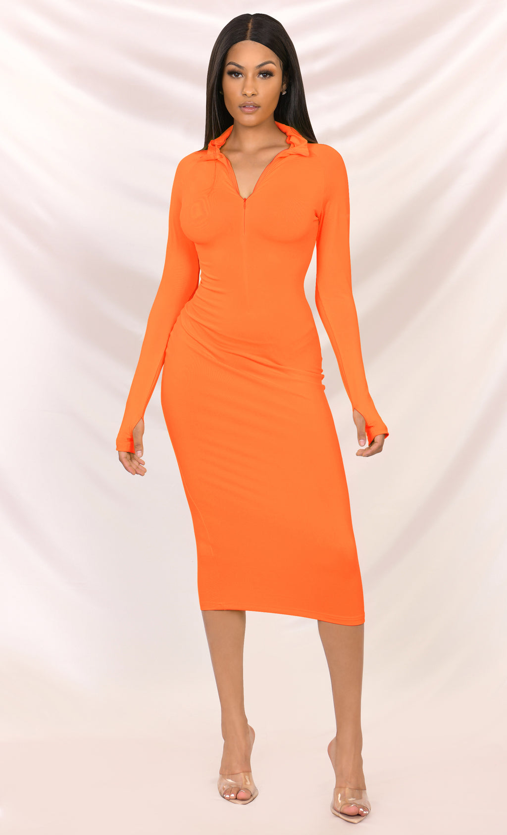 Press To Play Neon Orange Long Sleeve Mock Neck Zip Front Bodycon Midi Dress - 4 Colors Available