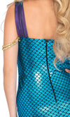 Under The Sea Blue Purple Metallic Fish Scale Scallop Sleeveless V Neck Bodycon Mermaid Maxi Dress Halloween Costume