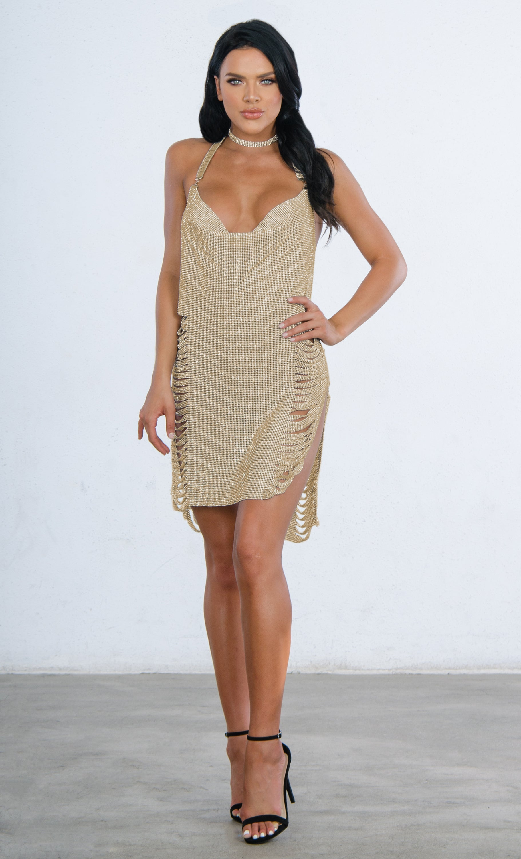 Indie XO Feel It Still Metallic Gold Rhinestone Shredded Diamanté Mesh Sleeveless Backless Halter V Neck Side Slit Mini Dress - 2 Colors Available