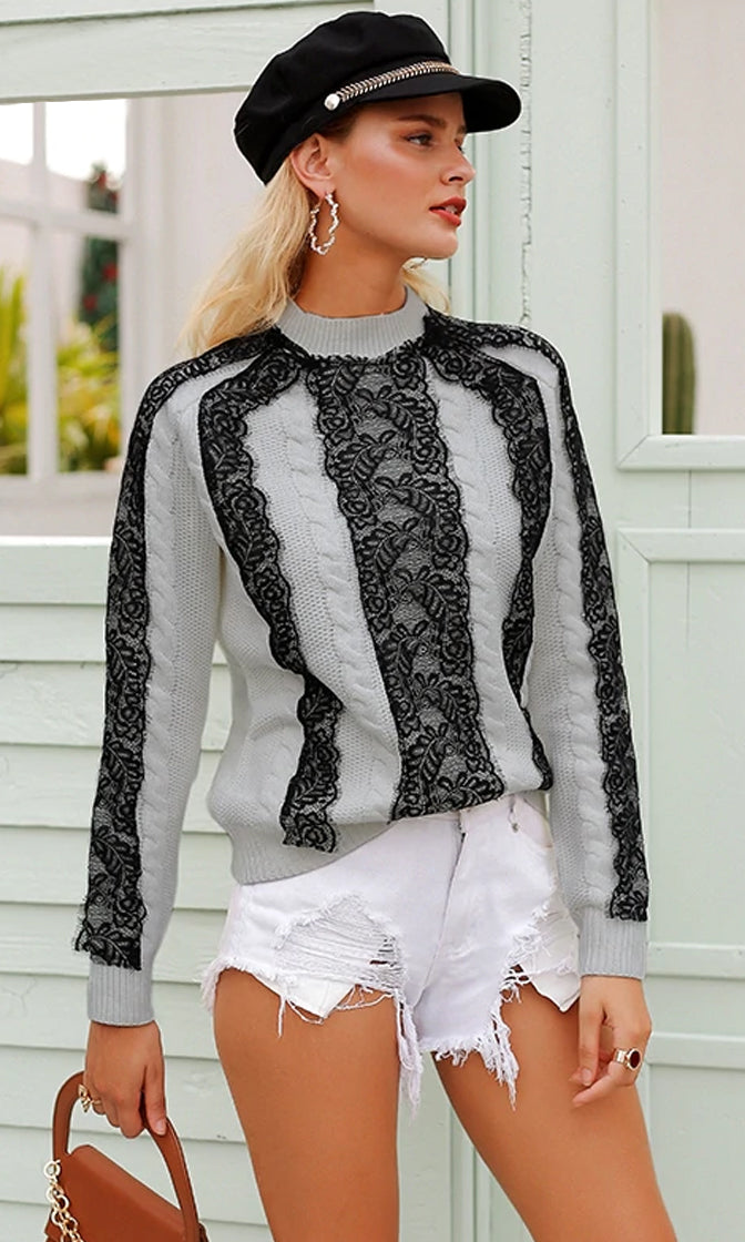 October Surprise Lace Trim Long Sleeve Cable Pattern Round Neck Pullover Sweater