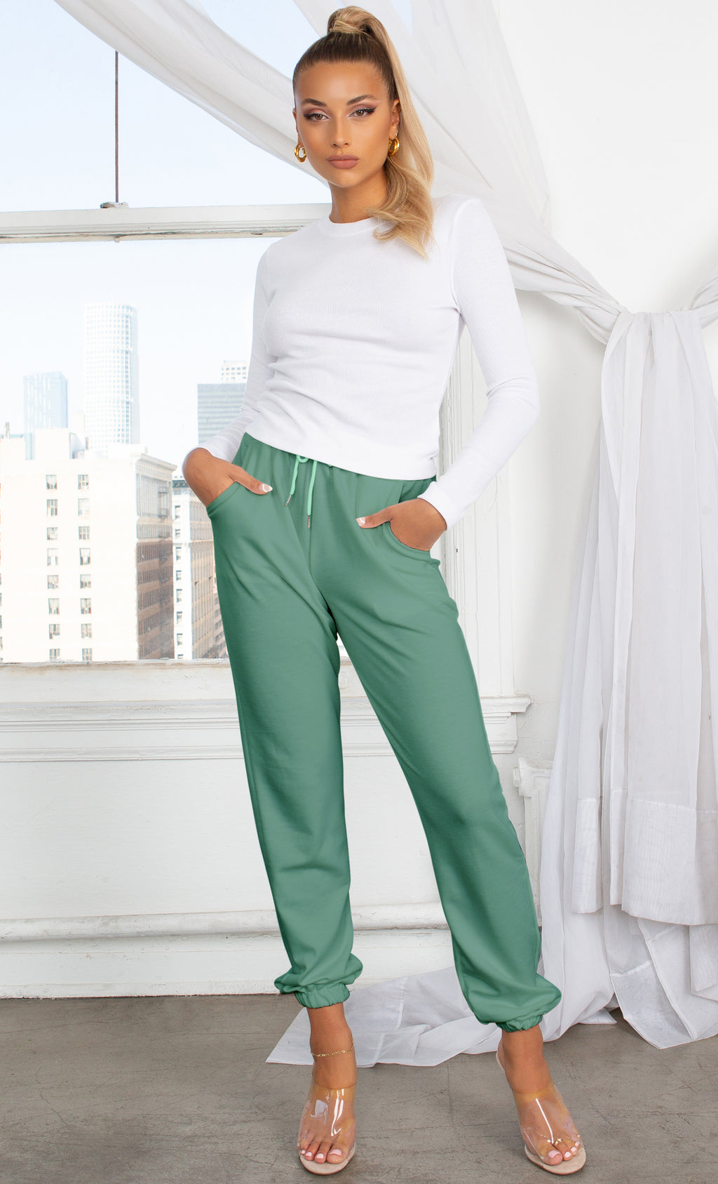 No Need To Panic Green Slim Elastic Waist Drawstring Jogger Pockets Sweat Pants