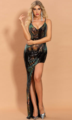 Extra Fab Gold Sequin One Long Sleeve Exaggerated Large Statement Bow Shoulder Cut Out Keyhole Slit Leg Maxi Dress
