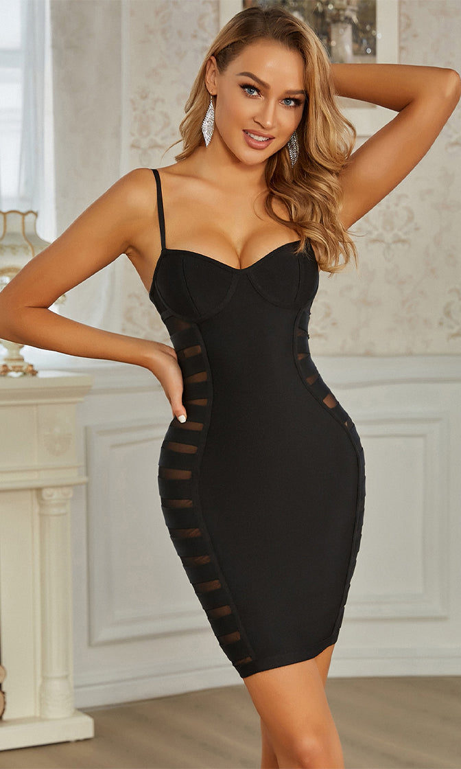 Victory Walk Black Sleeveless Spaghetti Strap V Neck Sheer Mesh Cut Out Bandage Bodycon Mini Dress