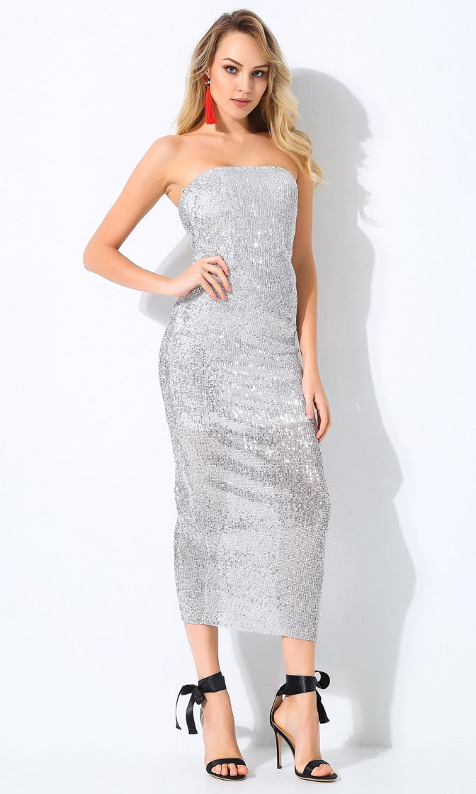 Envy This Silver Sequin Strapless Stretch Tube Midi Dress