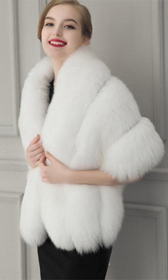 Freeze Frame White Faux Fur Shawl with Closure Wrap - Sold Out