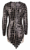 Checkered Past Black Sequin Plaid Pattern Long Sleeve Crew Neck Sheer Mesh Bodycon Mini Dress
