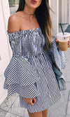 Nautical Beauty Black White Vertical Stripe Pattern Long Flare Sleeve Smocked Off The Shoulder Empire Waist Casual Mini Dress - Sold Out