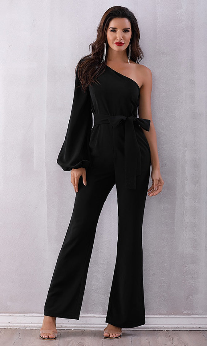 It's Your Turn Black Faux Suede One Long Lantern Sleeve Asymmetric Wide Leg Flare Jumpsuit