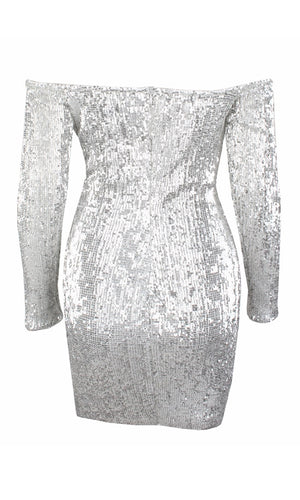 I've Got Stamina Navy Sequin Long Sleeve Off The Shoulder Bodycon Mini Dress