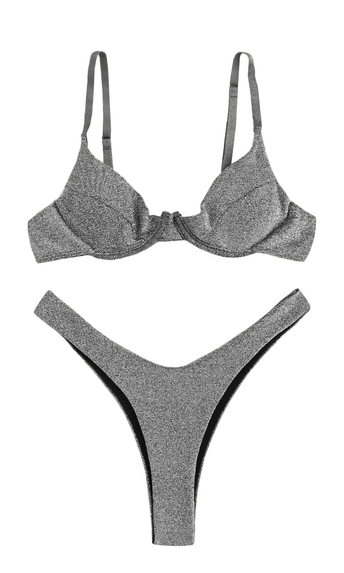 Sparkle In The Sun Silver Glitter Sleeveless V Neck Push Up Bra Top High Cut Two Piece Bikini Swimsuit