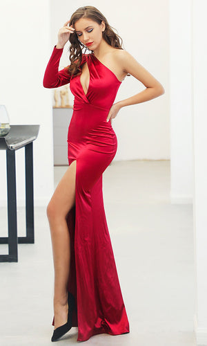 Million Dollar Baby Red One Shoulder Long Sleeve Cut Out Bust High Slit Maxi Dress - Sold Out