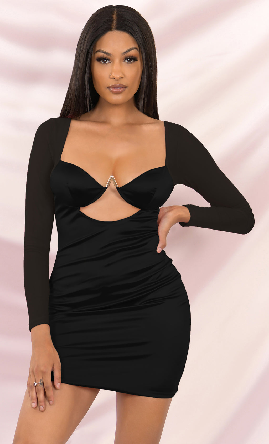 Hard To Believe Black Satin Mesh Long Sleeve Cut Out Metal Padded Bra Cup Bodycon Mini Dress