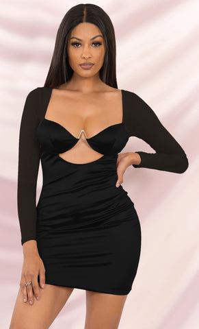 Steamy Secrets Black Glitter Long Sleeve Mock Neck Draped High Waist Ruched Keyhole Back Bodycon Mini Dress