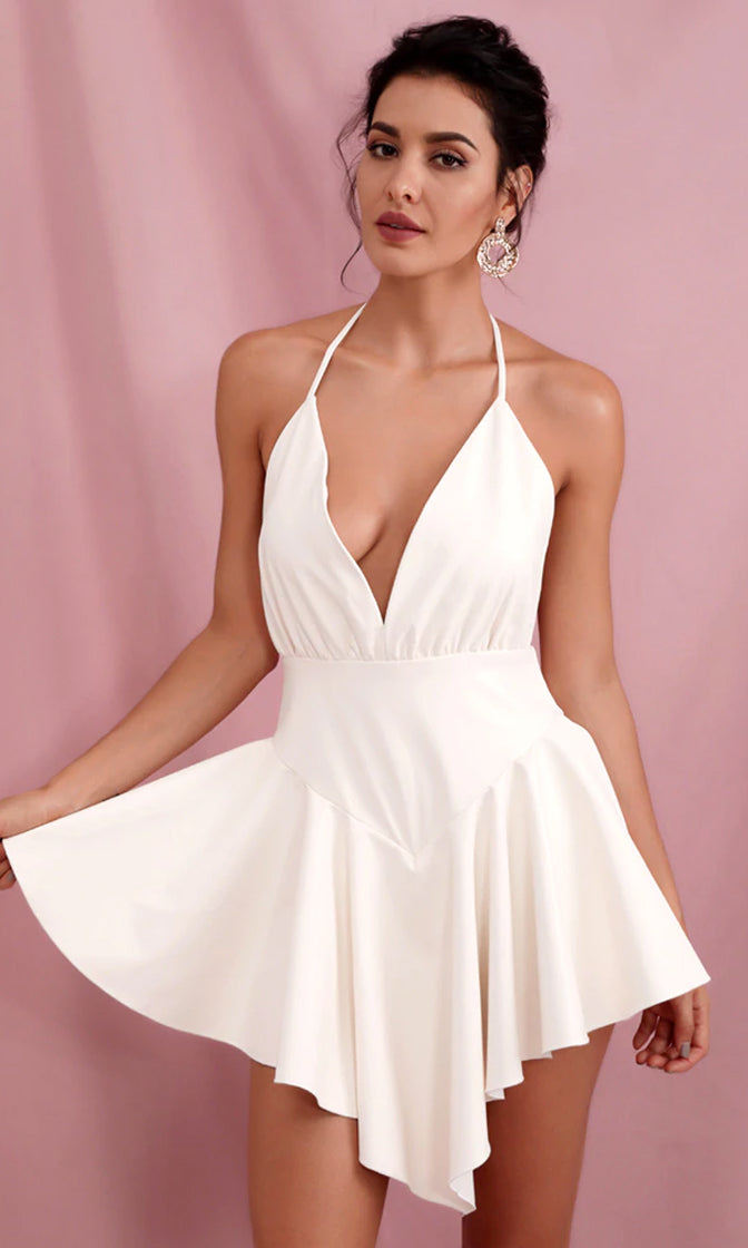 Flashing Forward White PU Sleeveless Spaghetti Strap Backless Plunge V Neck Halter Drop Waist Asymmetric Flare Mini Dress